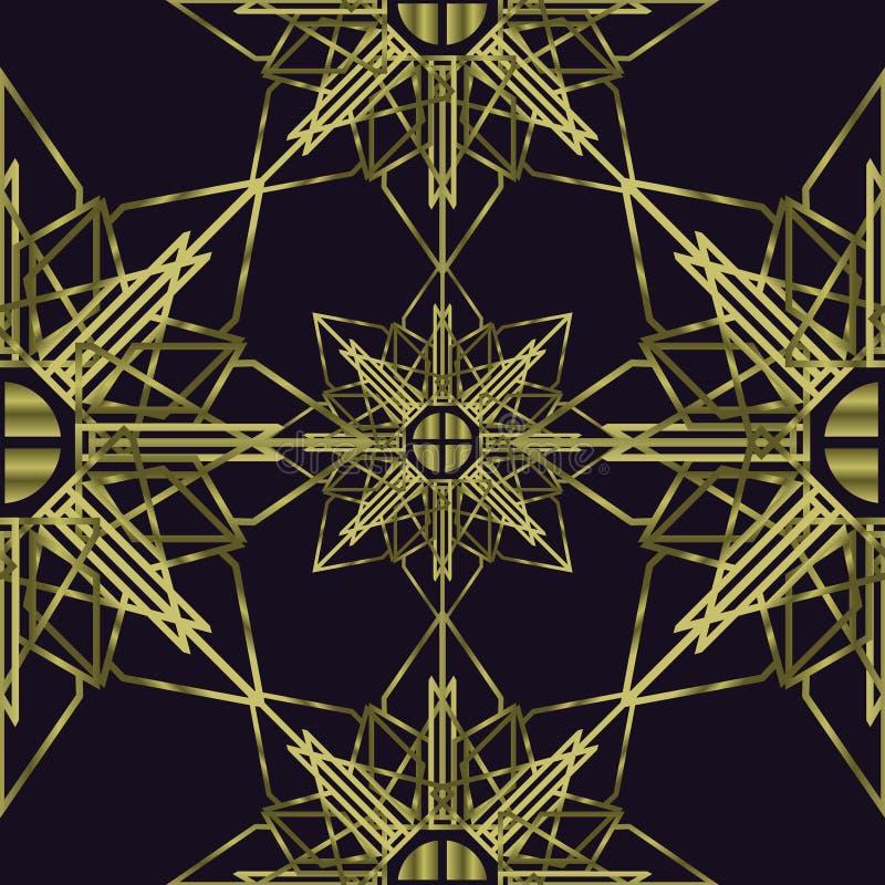 Naadloze gouden kleuren van de Mandala de heilige meetkunde royalty-vrije illustratie