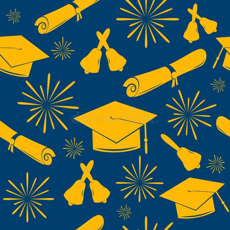 Naadloze graduatiesachtergrond van graduatiekappen, klokken en diploma's Gediplomeerd patroon De achtergrond van de viering vector illustratie