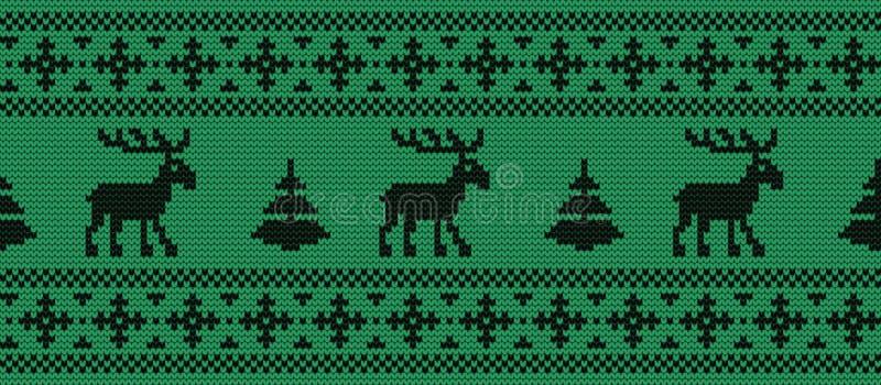 Naadloze grens Gebreid patroon met zwarte deers en sparren op een groene achtergrond vector illustratie