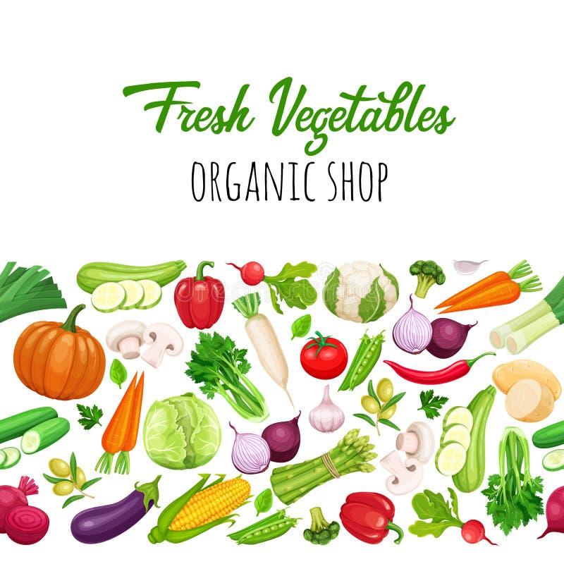 Naadloze grens met groenten royalty-vrije illustratie