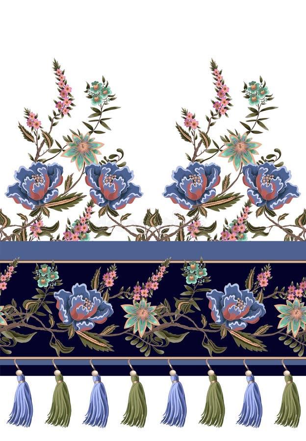 Naadloze grens met Indische etnische ornament en randen Volksbloemen en bladeren voor druk of borduurwerk Vector illustratie royalty-vrije illustratie