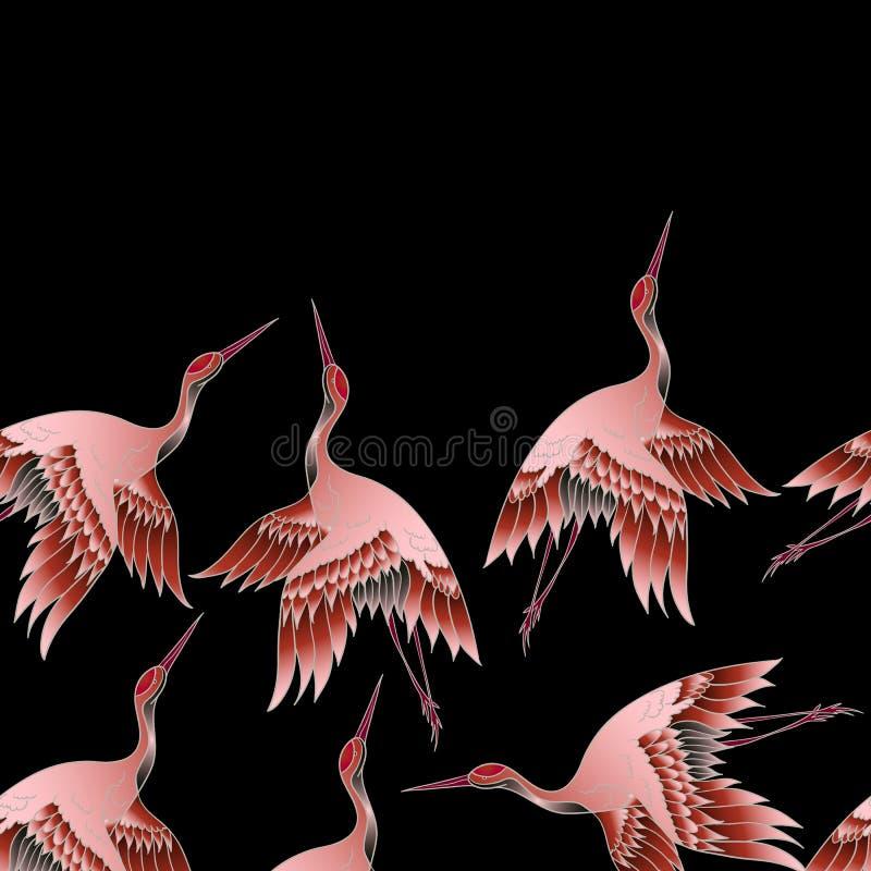 Naadloze grens met Japanse rode kraan in batikstijl Vector illustratie vector illustratie