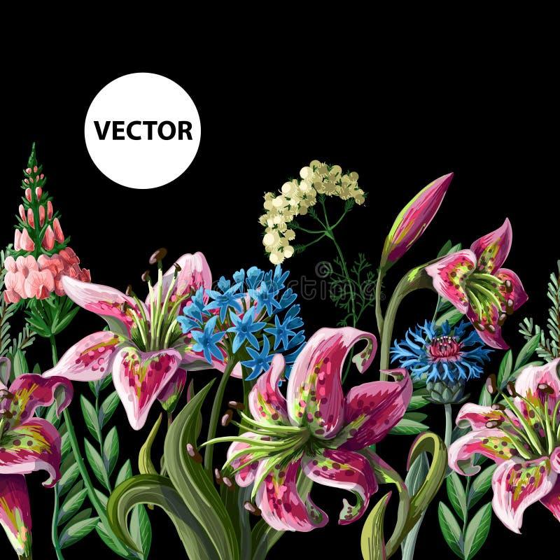 Naadloze grens met lelies en wilde bloemen Vector illustratie royalty-vrije illustratie