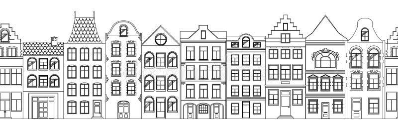 Naadloze Grens van Leuke retro huizenbuitenkant Inzameling van Europese de bouwvoorgevels Traditionele architectuur van royalty-vrije illustratie