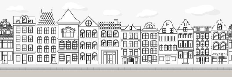 Naadloze Grens van Leuke retro huizenbuitenkant Inzameling van Europese de bouwvoorgevels Traditionele architectuur van vector illustratie