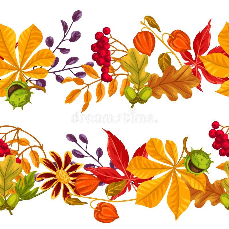 Naadloze grenzen met de herfstbladeren en installaties stock illustratie