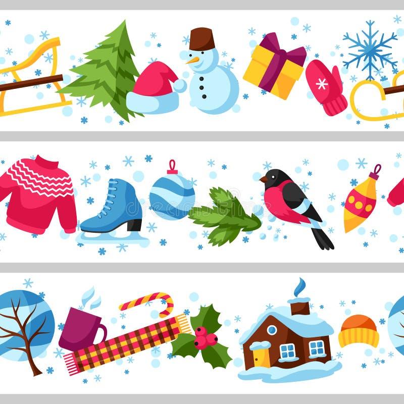 Naadloze grenzen met de wintervoorwerpen Vrolijke Kerstmis, de Gelukkige punten van de Nieuwjaarvakantie en symbolen royalty-vrije illustratie