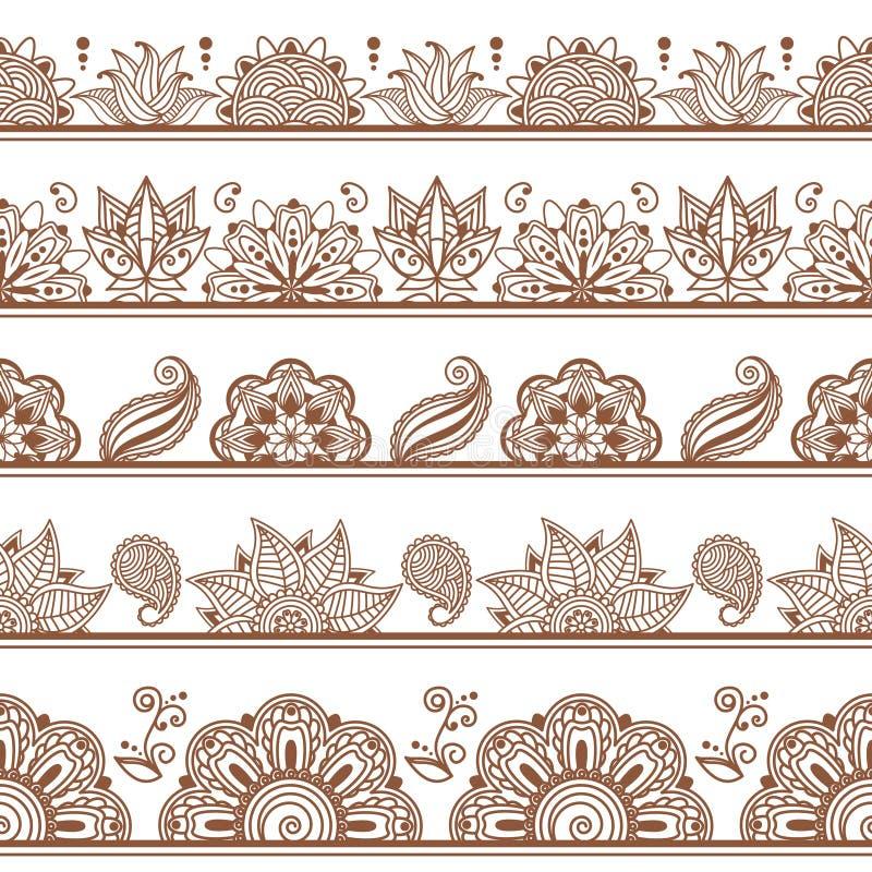 Naadloze grenzen of patronen in Indische stijl met royalty-vrije illustratie