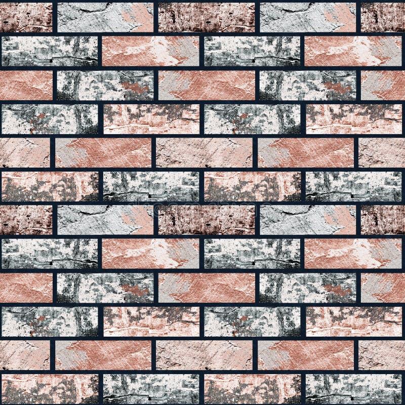 Naadloze grijze, bruine bakstenen muur stock illustratie