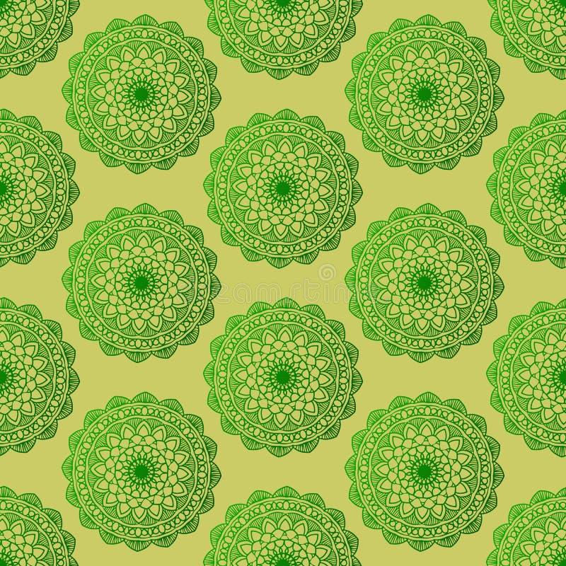 Naadloze groene patroonmandala royalty-vrije illustratie