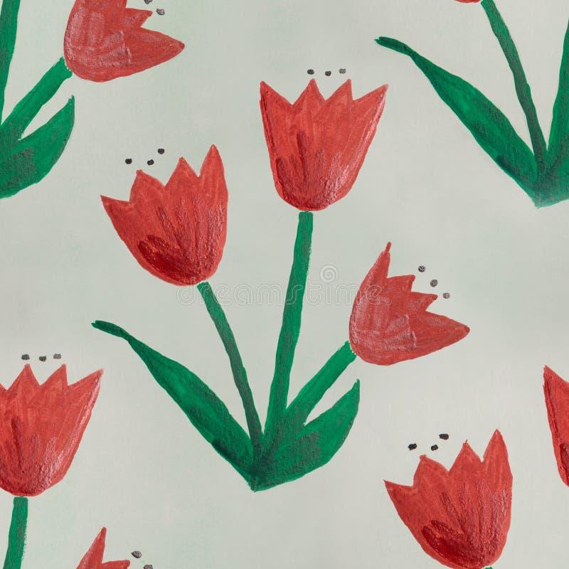 Naadloze groene rode met de hand gemaakt van waterverf kinderachtige bloemen royalty-vrije illustratie