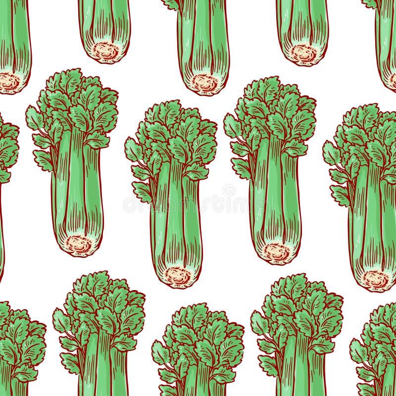 Naadloze groene selderie stock illustratie