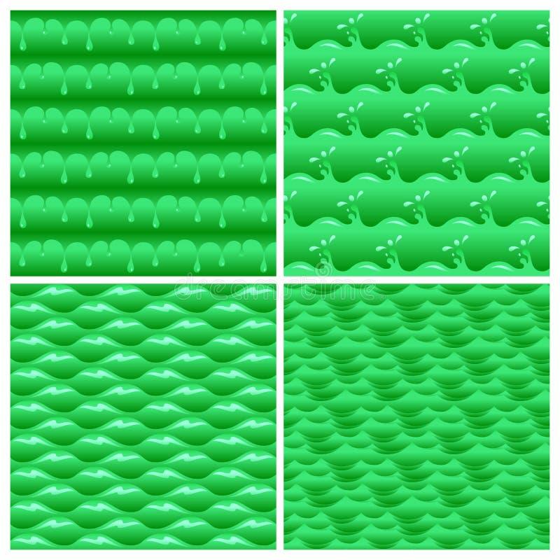 Naadloze groene vergiftigde van watergolven en dalingen vectorreeks als achtergrond vector illustratie