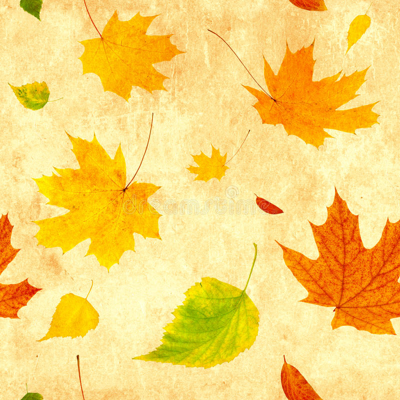 Naadloze grungeachtergrond met vliegende de herfstbladeren stock illustratie