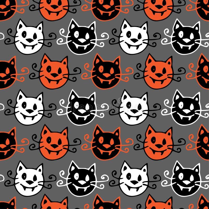 Naadloze Halloween achtergrond Vectorpatroon met Halloween-vampierkatten op grijze achtergrond stock illustratie