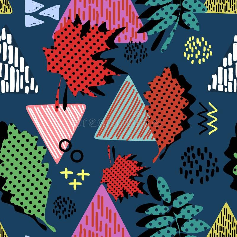 Naadloze hand getrokken driehoekssamenvatting met het vrouwelijke kinderachtige patroon van de tekeningsstijl Creatieve textielac royalty-vrije illustratie