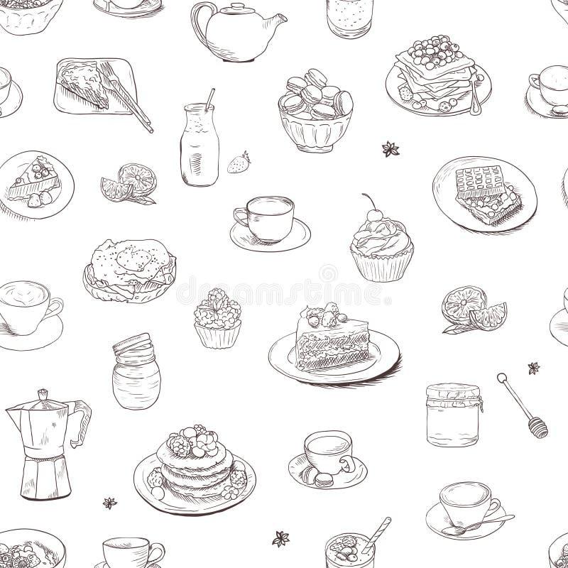 Naadloze Hand getrokken koffie als achtergrond, thee, snoepjespatroon Illustratie heerlijke elementen Het ontbijtvoedsel drinkt C royalty-vrije illustratie