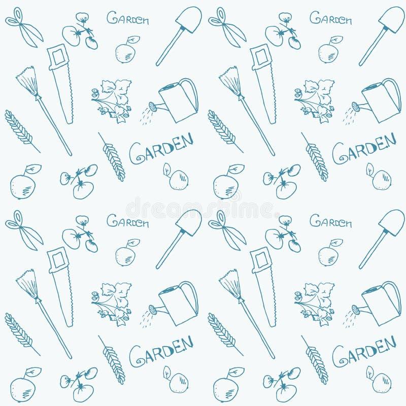 Naadloze hand getrokken tuinachtergrond stock illustratie