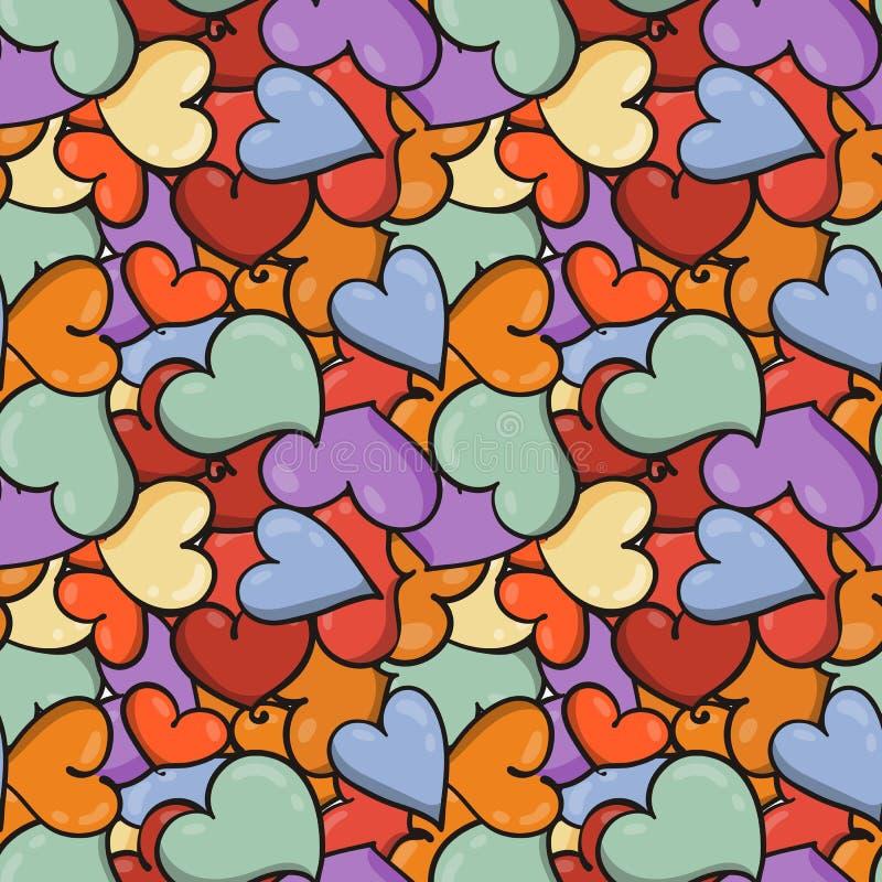 Naadloze hartachtergrond van de dag van Heilige Valentine ` s stock illustratie