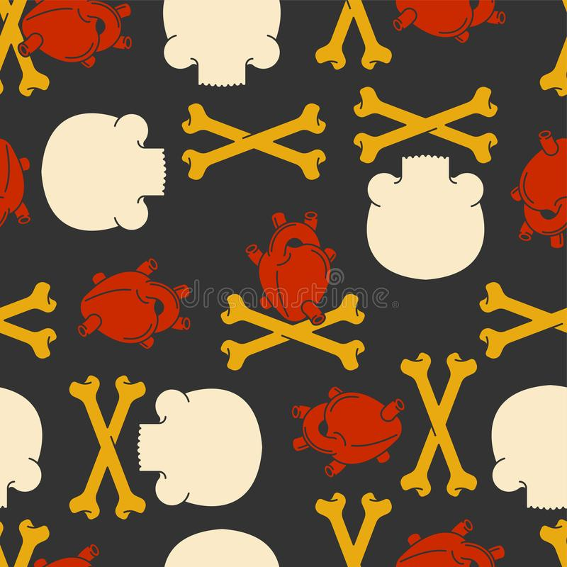 Naadloze hartanatomie en schedel en gekruiste knekelspatroon Crossbo royalty-vrije illustratie