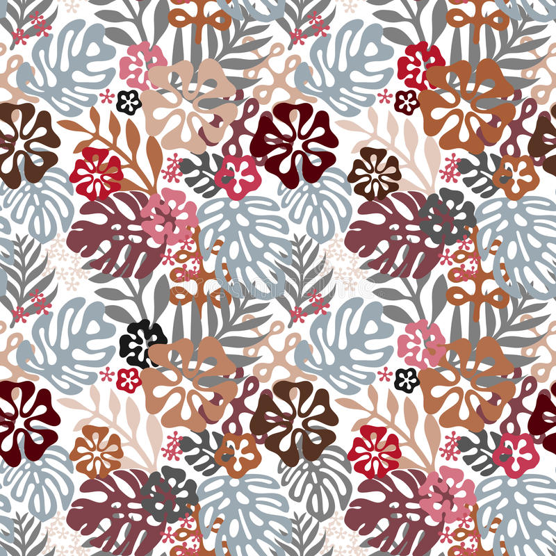 Naadloze Hawaiiaanse patroon klassieke vlakke stijl retro bloemen van hibiscus Vector illustratie vector illustratie