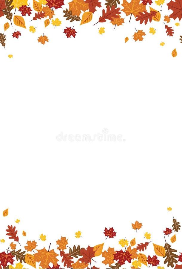 Naadloze Heldere Daling Autumn Leaves Vertical Border 1 stock illustratie