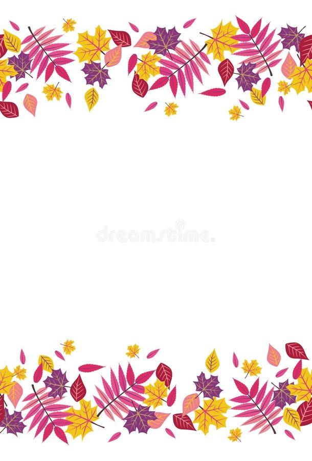 Naadloze Heldere Daling Autumn Sumac Leaves Top en Bodemgrens 1 royalty-vrije illustratie