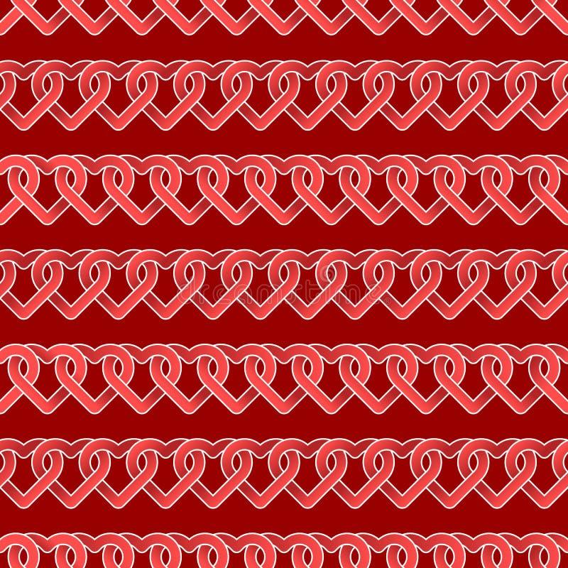 Naadloze herhaalbaar, patroon van de Gelukkige Dag van Valentine ` s met harten en liefde in rood thema stock illustratie