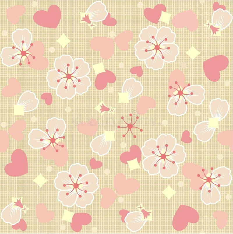 Naadloze (herhaalbare) bloemenTulle achtergrond royalty-vrije illustratie