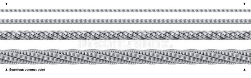 Naadloze herhaalbare de draadkabel van de staalkabel stock illustratie