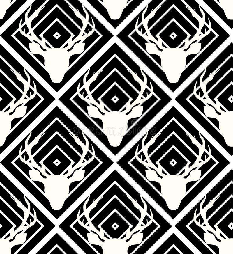 Naadloze hertenvector op de zwarte witte geometrische achtergrond royalty-vrije illustratie