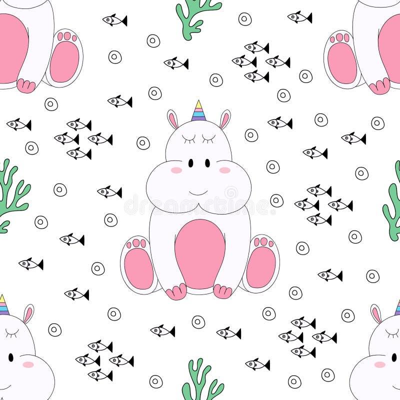 Naadloze het beeldverhaalhand getrokken stijl van patroon leuke hippo royalty-vrije illustratie
