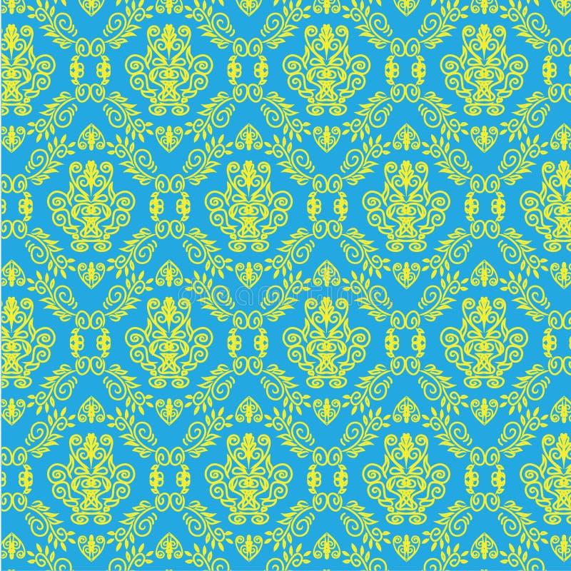 Naadloze het behang van het het patroonmalplaatje van het tatoegeringsdamast vector illustratie
