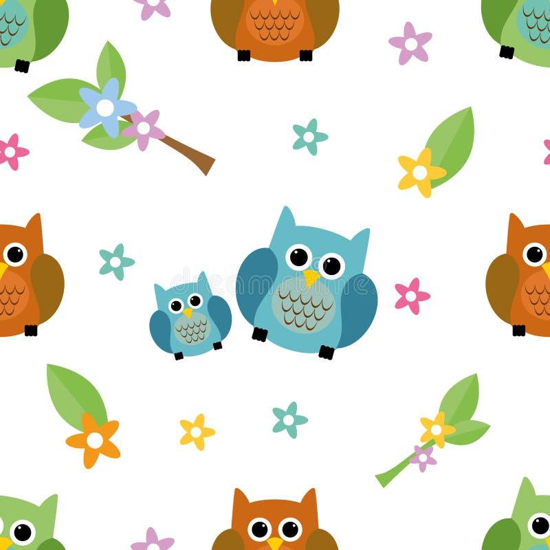Naadloze het betegelen leuke en kleurrijke textuur met uilen vector illustratie