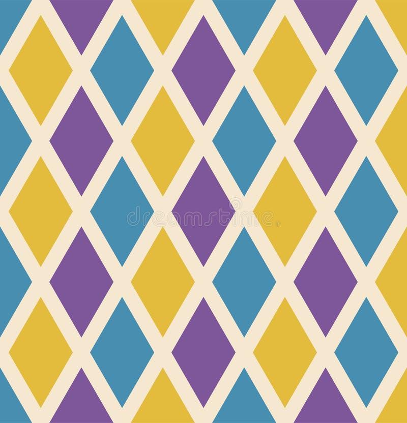 Naadloze het herhalen van Mardi Gras achtergrond met groene, gele en purpere diamanten Vakantieaffiche of aanplakbiljetmalplaatje stock illustratie