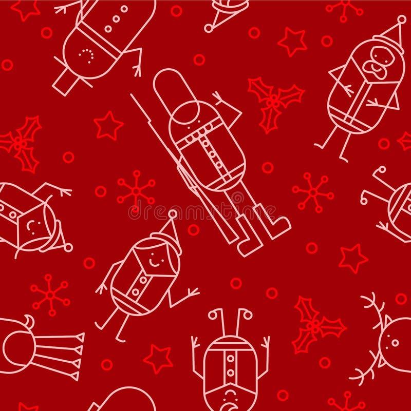 Naadloze het karakterachtergrond van Kerstmis vector illustratie
