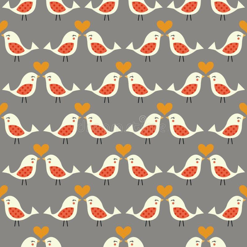 Naadloze het kussen vogelsachtergrond royalty-vrije illustratie