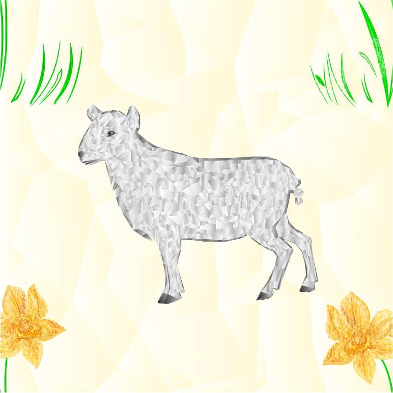 Naadloze het lam en de Gele narcisveelhoekenvector van textuurpasen stock illustratie