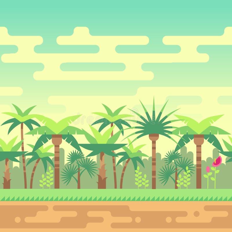 Naadloze het landschaps vectorillustratie van de de zomer tropische bosaard voor computerspelen stock illustratie