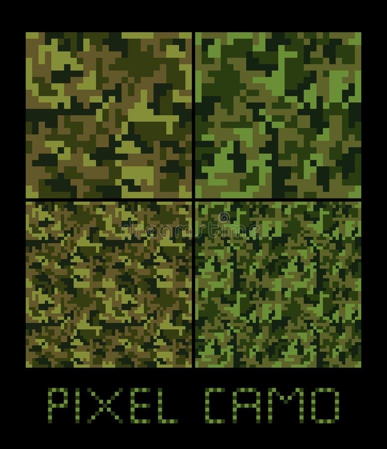 Naadloze het patroon Grote reeks van pixelcamo Groen, bos, wildernis, stedelijke, bruine camouflages stock illustratie