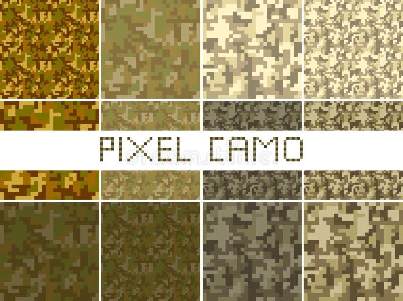 Naadloze het patroon Grote reeks van pixelcamo Groen, bos, wildernis, stedelijke, bruine camouflages royalty-vrije illustratie