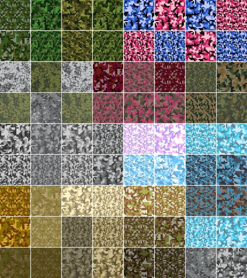 Naadloze het patroon Grote reeks van pixelcamo Groen, bos, wildernis, stedelijke, roze, blauwe, bruine camouflages vector illustratie