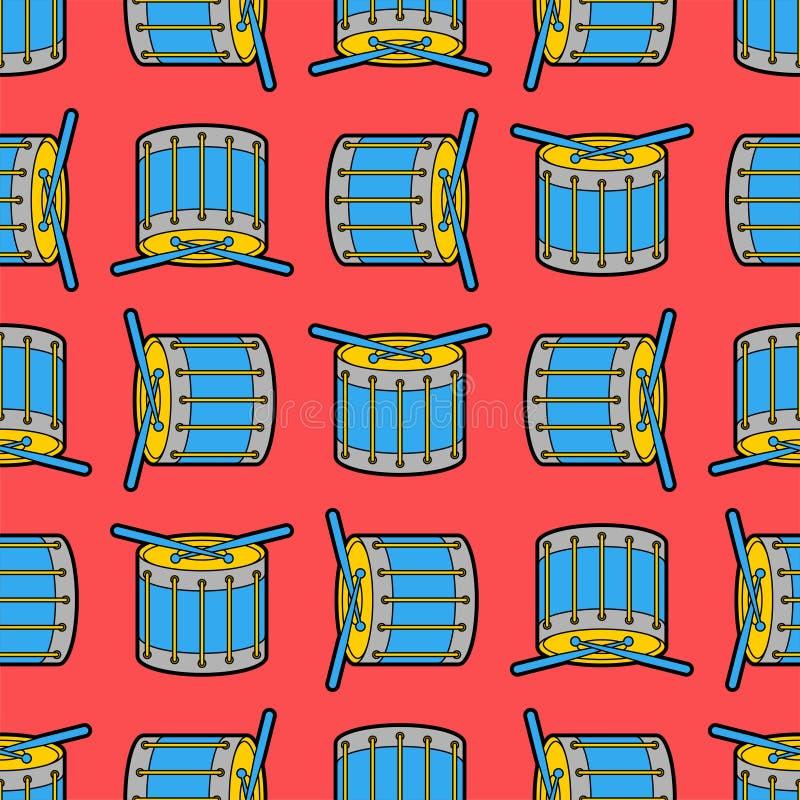 Naadloze het patroon van het ?rumbeeldverhaal Achtergrond van het percussie de muzikale instrument De textuur van de kinderendoek stock illustratie