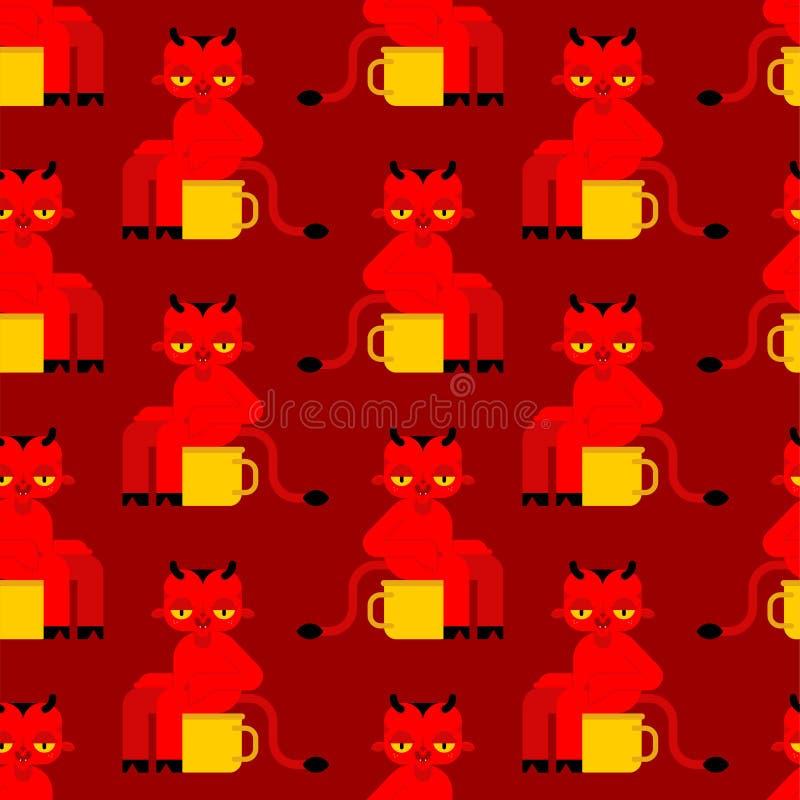 Naadloze het patroon van het babydemon Weinig rode duivelsachtergrond kleine duivel op onbenullig toiletornament De doektextuur v royalty-vrije illustratie