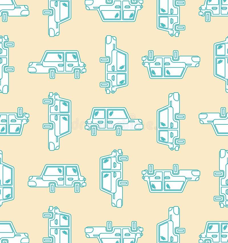 Naadloze het patroon van de beeldverhaalauto de stijlachtergrond van machinekinderen vector illustratie