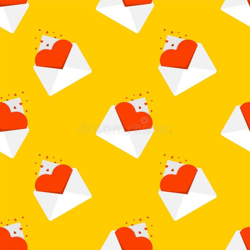 Naadloze het patroon van de liefdepost Hart in een envelop De Dag van berichtvalentine De achtergrond van de valentijnskaart stock illustratie
