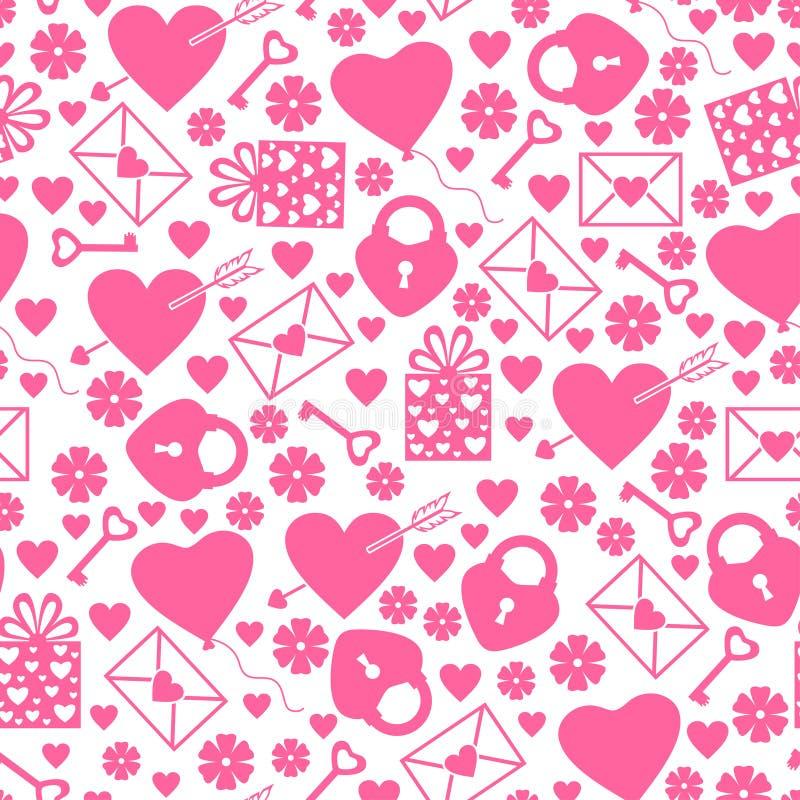 Naadloze het patroon van de valentijnskaartendag royalty-vrije illustratie