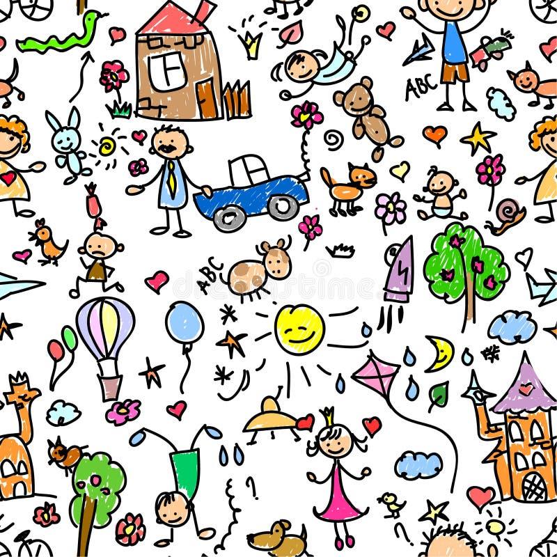Naadloze het patroon van het kind vector illustratie