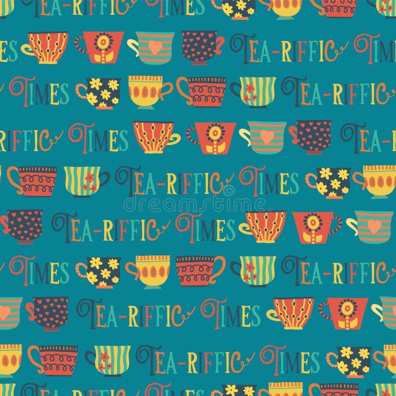 Naadloze het patroon van Theekoppen vectorwintertaling als achtergrond HetRiffic tijden van letters voorzien De Tijd van de thee  royalty-vrije illustratie