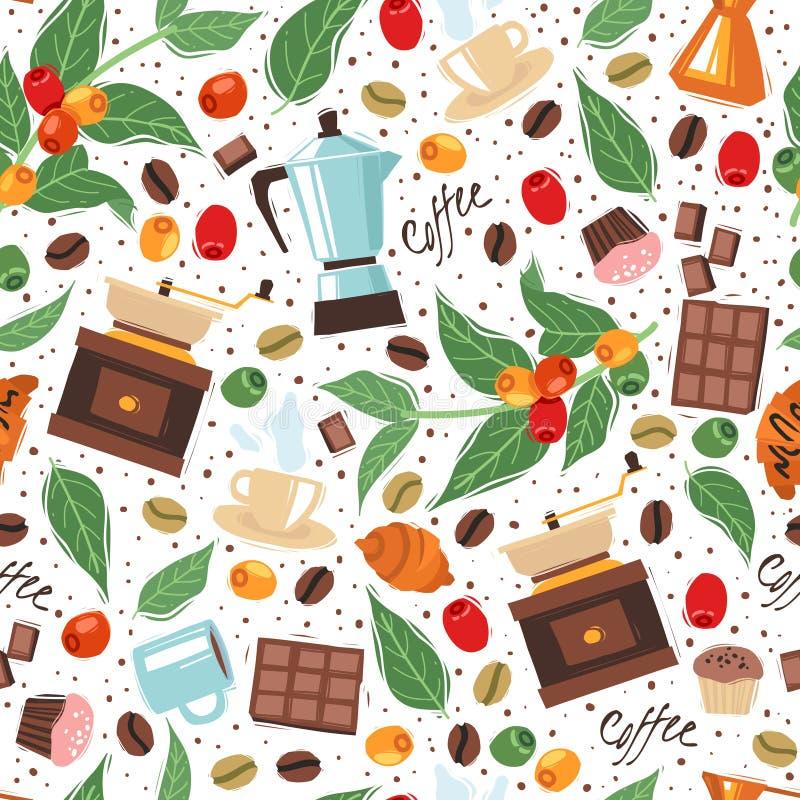 Naadloze het patroon witte achtergrond van het koffiehuis vector illustratie